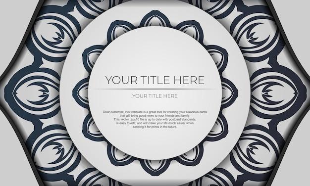 Modello per lo sfondo del design di stampa con motivi vintage. banner vettoriale bianco con ornamenti mandala e posto per il tuo testo e logo.