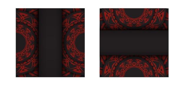 Modello per biglietti da visita di design di stampa in nero con motivi greci rossi. vector preparazione del biglietto da visita con posto per il testo e l'ornamento astratto.
