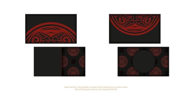 Modello per biglietti da visita di design di stampa in nero con motivi di maschere maori rosse.