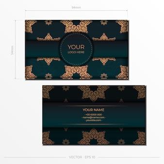 Modello per la stampa di biglietti da visita in colore verde scuro con motivi lussuosi. vector presentabile preparazione biglietto da visita con ornamento d'epoca.