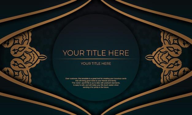 Modello per biglietto d'invito di design di stampa con motivi vintage. banner vettoriale verde scuro con ornamenti di lusso e posto per il testo.