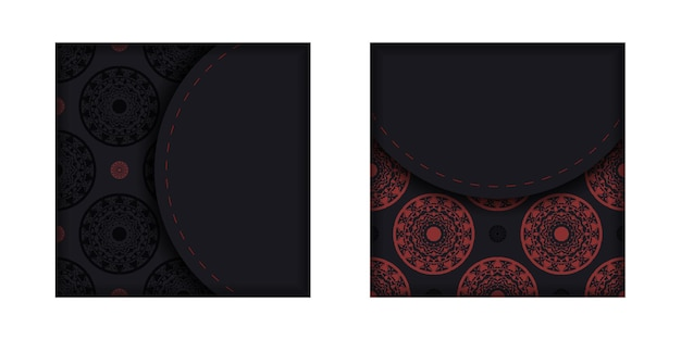 Modello per i colori neri della cartolina di progettazione della stampa con l'ornamento greco. vector prepara il tuo biglietto d'invito con un posto per il tuo testo e motivi di lusso.