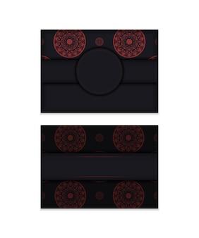 Modello per cartolina di design di stampa colori nero con motivi greci. preparare un invito con un posto per il tuo testo e ornamento di lusso.
