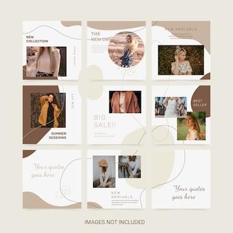 Modello di puzzle social media. banner di moda donna.