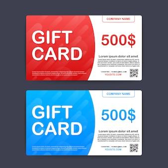 Carta regalo rosso e blu modello. buono da 500 dollari. illustrazione.