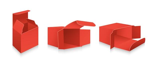 Insieme 3d della scatola rossa del modello. collezione di scatole regalo di imballaggio realistico in bianco. pacchetto di carta aperto cartone cartone.