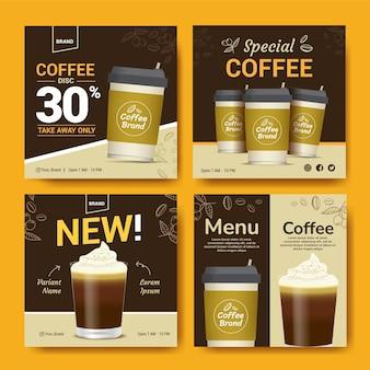 Set di modelli banner per post di marca di caffè per i social media