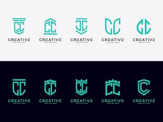 Modello imposta le lettere iniziali dell'icona del logo cc