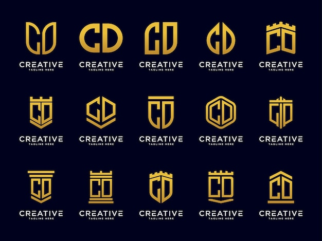 Set di modelli logo cd lettere icona iniziale monogram