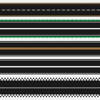 Set di modelli di strade asfaltate diritte. fondo senza cuciture della strada. vettore