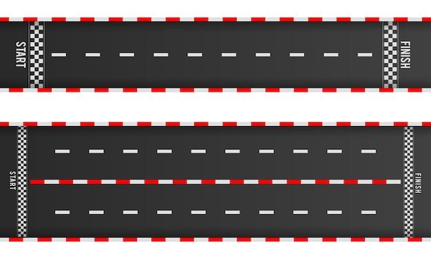 Set di modelli di strade asfaltate diritte