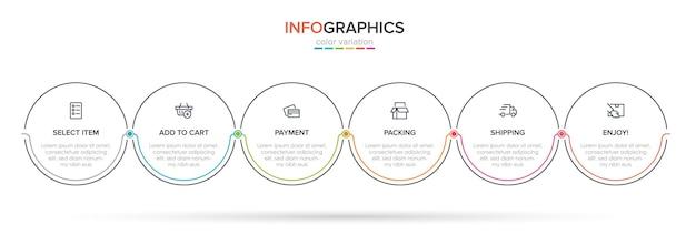 Modello per lo shopping infografiche. sei opzioni o passaggi con icone e testo.