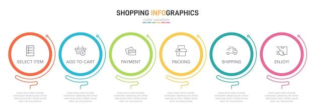 Modello per infografica dello shopping sei opzioni o passaggi con icone e testo