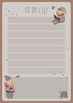 Un modello per semplici pianificatori ed elenchi di cose da fare per bambini con illustrazioni carine