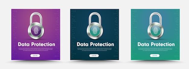 Modello di banner di social media con lucchetto e impronta digitale per la protezione delle informazioni.