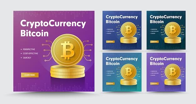 Modello di banner quadrato di social media con una pila di monete d'oro criptovaluta bitcoin.