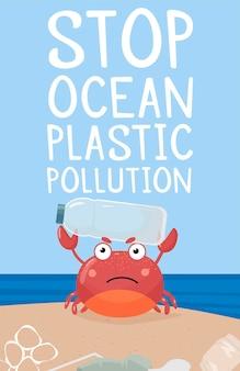 Modello fermare l'inquinamento da plastica oceanica un granchio con un cartello e una bottiglia di plastica plastic