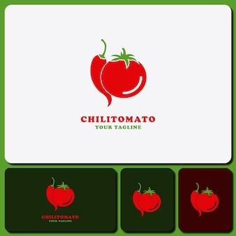 Modello logo design pomodoro e peperoncino verdure isolate