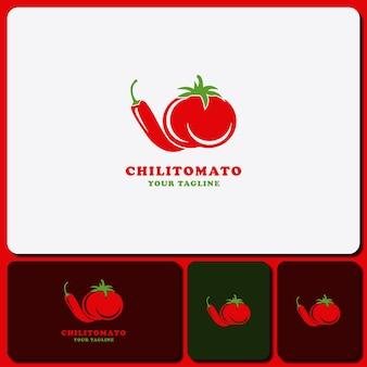 Modello logo design pomodoro e peperoncino