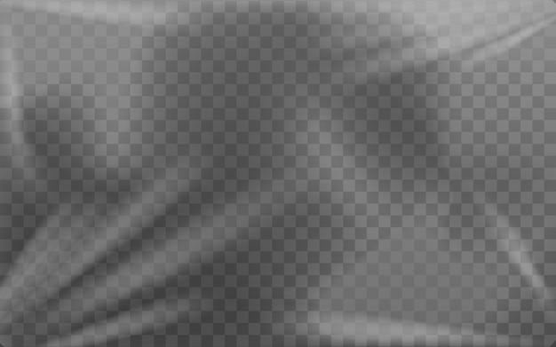 Modello di involucro di imballaggio in cellophane leggero trasparente o pellicola tesa, illustrazione vettoriale realistica su sfondo trasparente. mockup di wrapper di protezione trasparente.