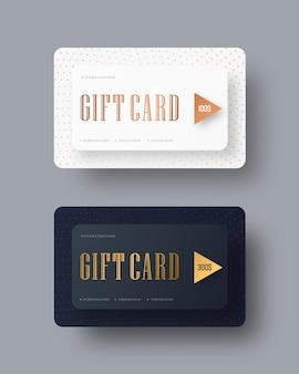 Modello di carte regalo rigorose classiche vettoriali con testo in oro.