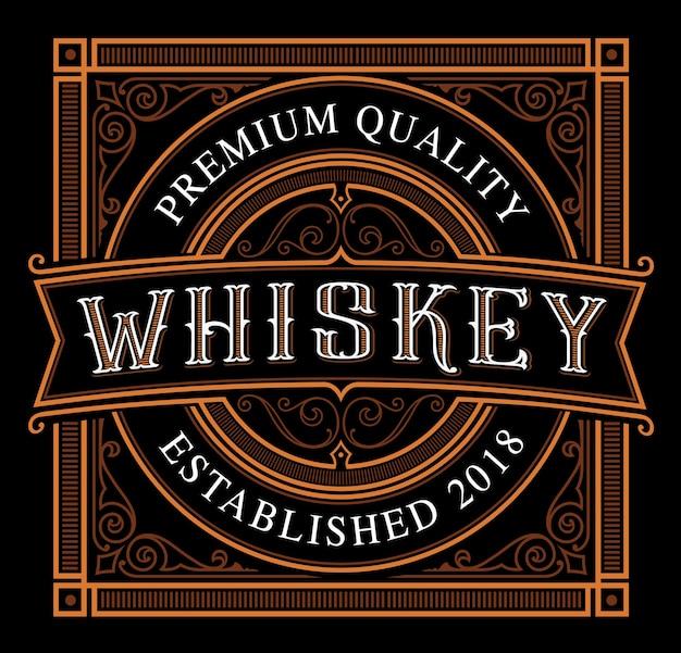Modello di etichetta di whisky vintage sullo sfondo scuro. il testo è nel gruppo separato.