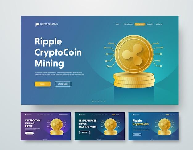 Intestazione web modello con mucchi d'oro di monete ripple ed elementi di microcircuiti.