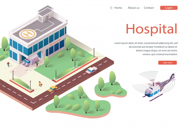 Sito web modello ospedale, homepage web di destinazione