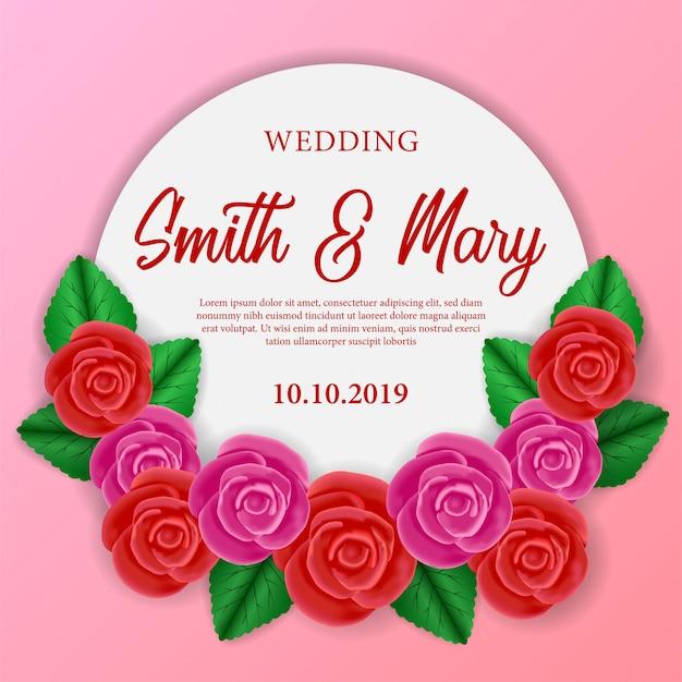 Modello di invito a nozze con rosa rossa