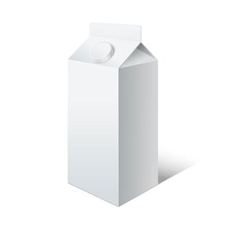 Modello bianco vuoto latte. pacchetto bevande in cartone vuoto.