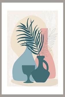 Modello con una composizione astratta di forme semplici e foglie di palma tropicale in un vaso