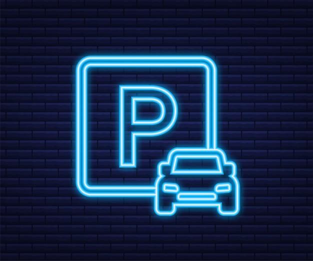Modello con parcheggio blu. logo, icona, etichetta. icona al neon. elemento web. illustrazione di riserva di vettore.