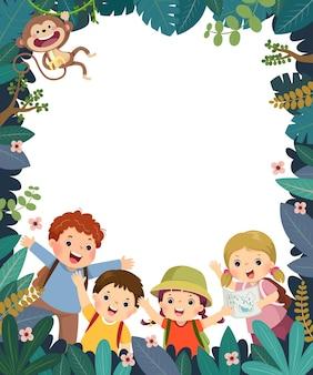 Modello con cartone animato di bambini felici in campeggio o in viaggio nella foresta.