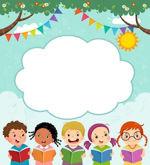 Modello con cartone animato di bambini felici che leggono il libro.