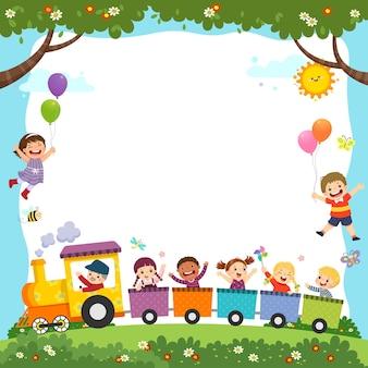Modello con cartone animato di bambini felici sul treno.