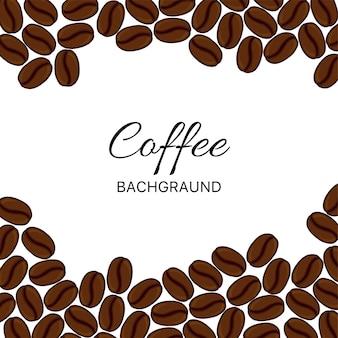Modello con chicchi di caffè. stile cartone animato. illustrazione vettoriale.
