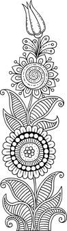Modello con motivi floreali. sfondo della pagina per inviti, menu, quaderni, libri. sfondo nello stile della linea doodle. libro da colorare. illustrazione vettoriale. arte astratta