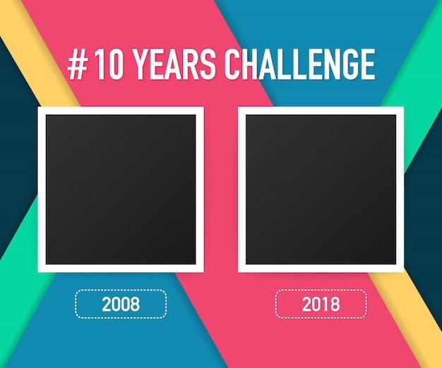 Modello con hashtag concetto di sfida di 10 anni. stile di vita prima e dopo dieci anni.