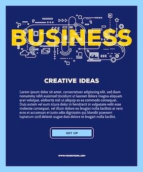 Modello con l'illustrazione della tipografia dell'iscrizione di parola di affari con le icone di linea su fondo blu. struttura aziendale.