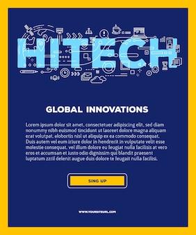Modello con illustrazione della tipografia dell'iscrizione di parola hitech con icone di linea su sfondo blu. tecnologia di innovazione aziendale.