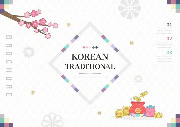 Modello con sfondo modello tradizione coreana brochure