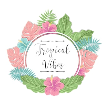 Modello con foglie di palma. etichetta o tropicale su sfondo bianco