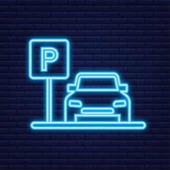 Modello con parcheggio. logo, icona, etichetta. parcheggio su sfondo bianco. icona al neon. elemento web. illustrazione di riserva di vettore.