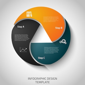 Modello con tre passaggi o opzioni per presentazioni di diagrammi e grafici