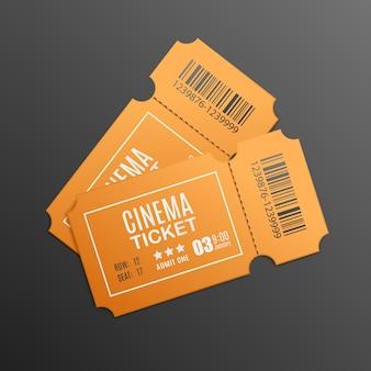 Modello di biglietti per il cinema in bianco giallo realistico isolato.