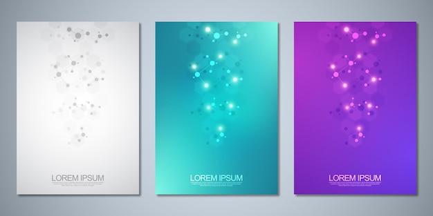 Modelli di brochure o copertina, layout di pagina, design di volantini con strutture molecolari e filamento di dna