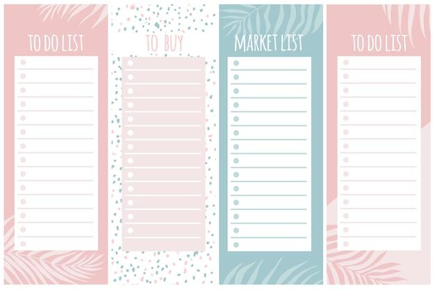 Modelli per appunti, fare e liste di acquisto. organizzatore, pianificatore, programma per il tuo design. sfondo astratto in stile disegnato a mano moderno alla moda. tavolozza pastello.