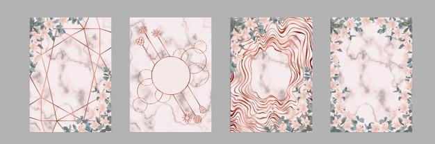 Set di modelli con eucalipto e fiori per biglietti di auguri e copertine