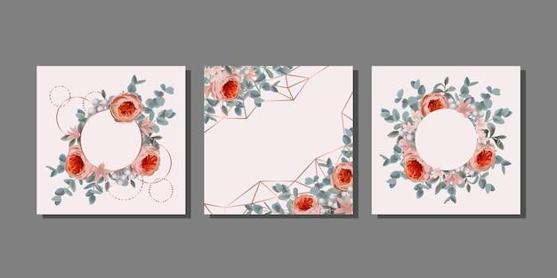 Set di modelli con fiori ed eucalipto collezione di copertine botaniche per la moda nel verde