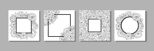 Set di modelli con foglie di fiori di peonia e cornice per biglietti di auguri inviti da colorare